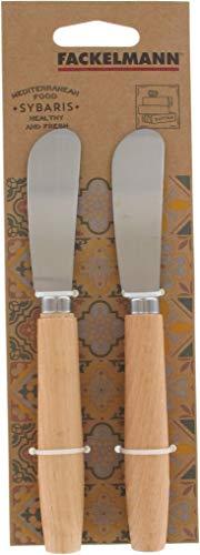 Fackelmann 40908 Lot Beurre, 2, Couteau à tartiner, Bois, Acier Inoxydable, 17,3 x 2,1 x 1,3 cm