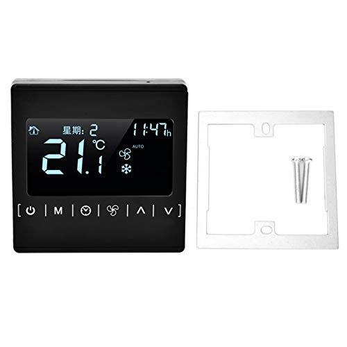 Termostato Fan Coil 2 en 1 Termostato con pantalla digital inteligente táctil Negro