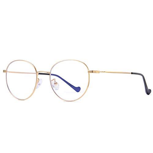 Gafas De Sol Gafas De Bloqueo De Luz Azul Gafas Redondas De Metal Computadora Hombres Mujeres Anti Blue Eyeglasses-C3_Gold