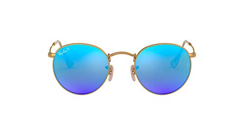 Ray-Ban RB3447 Metal Round Sunglasses, Matte Gold/Polarized Blue Flash, 50 mm