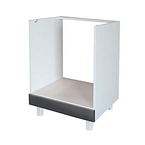 Berlioz Creations CF6BG Küchenschrank für Einbauofen Hochglanz Grau 60 x 52 x 83 cm