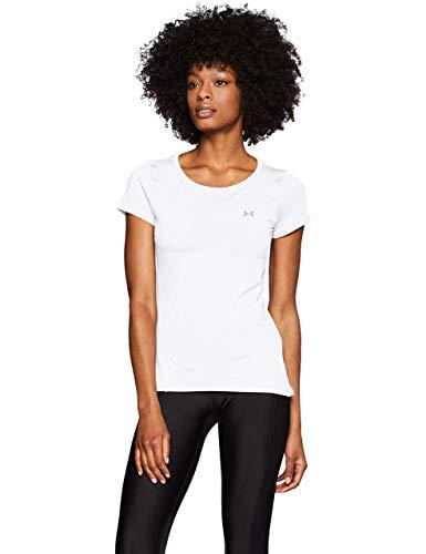 Under Armour UA Heatgear Armour Short Sleeve Camiseta, Mujer, Blanco (White/Metallic Silver 100), XL