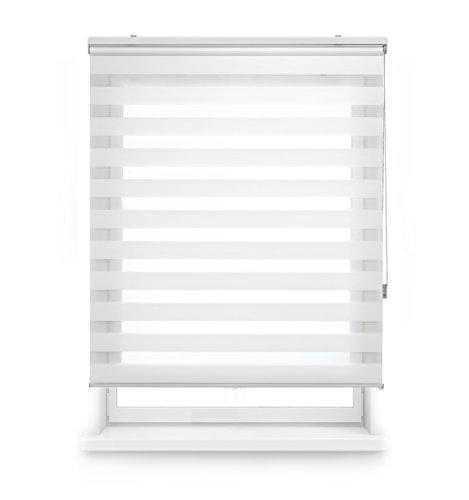 Blindecor LIRA - Estor enrollable de doble capa Noche y Día, Blanco Roto, 140 x 250 cm, ancho x largo