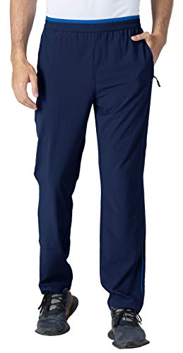 YSENTO Herren Jogginghose Lang Fitnesshose Schnell Trocknend Atmungsaktiv Leicht Sport Laufhose mit Reißverschlusstaschen(Blau,L)