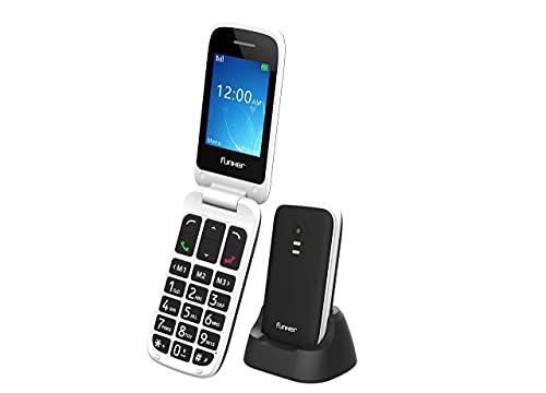 Funker E70 Easy Elite - Teléfono Móvil con Tapa, Fácil de Usar para Personas Mayores con Botón SOS y Base Cargadora, Cámara de Fotos y Agenda con Fotocontactos (Negro)
