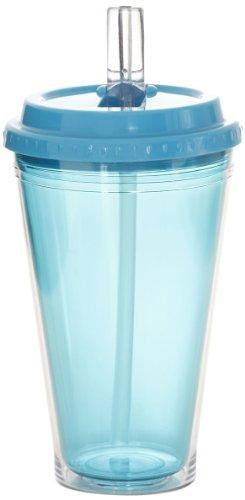 Idelice CO258 741A Verre Double Paroi à Soda ou Jus ou Cocktails avec Paille Intégrée Bleu Turquoise 750 ml