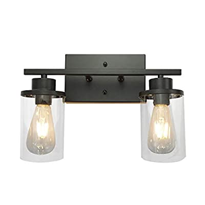 PUUPA Vanity Lights for Bathroom, 2 Lights Black Industrial Vintage Black Sconce Wall Light Fixtures with Clear Glass Shade