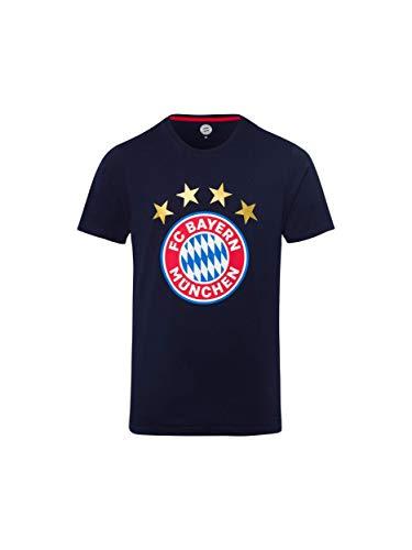 FC Bayern München T-Shirt Logo Navy/Fanshirt mit großem FCB-Emblem/XXL