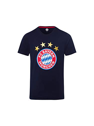 FC Bayern München T-Shirt Logo Navy/Fanshirt mit großem FCB-Emblem/L