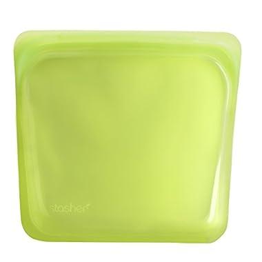 Stasher Reusable Silicone Food Bag, Sandwich Bag, Storage Bag, Solid Lime