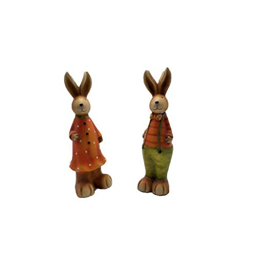 LIUSHI Estatua de Conejo de Resina de Pascua, decoracin de jardn, Escritorio de Oficina Interior, decoracin de Fiesta navidea de 2 Piezas, Familia