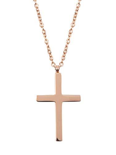 Happiness Boutique Damen Kette mit Kreuz Anhänger in Rosegold | Filligrane Halskette Edelstahlschmuck