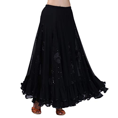 IPOTCH Falda Larga de Mujer Cintura Alata Elástica con Flores Bordadas Lentejuelas Traje para Baile Fiesta Cóctel