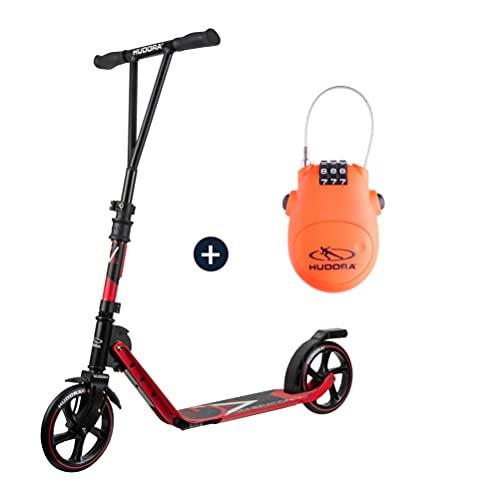 HUDORA BigWheel® Generation V 205, Scooter rot mit Kabelschloss Tretroller Roller Kickroller Cityroller Set Bundle Tretscooter Kickscooter…