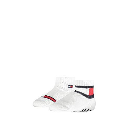 Tommy Hilfiger Unisex-Baby Flag (2 Pack) Socks, white, 19/22