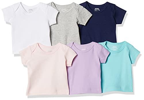 Amazon Essentials - Pack de 6 camisetas con escote americano para niño, Solid Pink, Purple & Aqua, Bebé prematuro