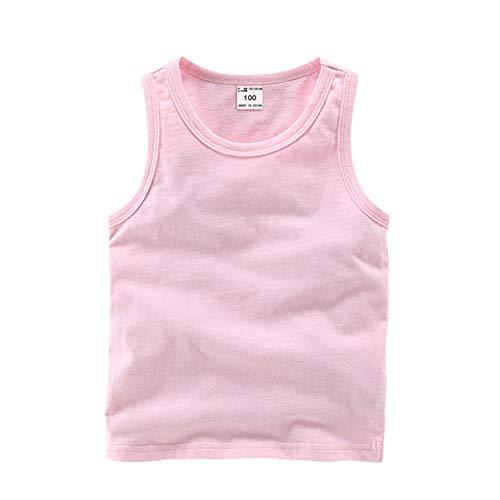 DQCUTE Kleinkind Baby Jungen Mädchen Solide Tank Tops T-Shirts Unterhemden Baumwolle Sommer Sleeveless Weste Rosa 12-18 Monate
