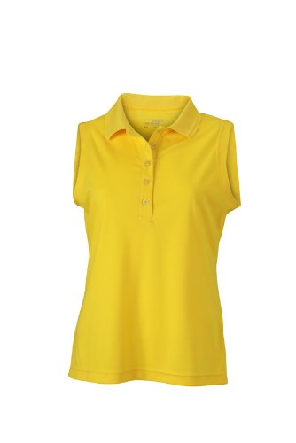 JAMES & NICHOLSON Polo Ladies Active Sleeveless Maternité, Jaune (Sun-Yellow), (Taille Fabricant: Small) Femme
