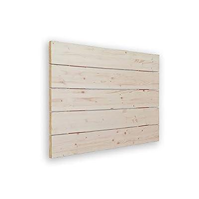 🛌 AVENCO - Cabecero de cama tipo palet. Su material es madera de pino cepillada. Aporta un toque rústico y moderno. 📐MEDIDAS: 90x5x50 cm 🔎 TRANSPIRABLE - La parte trasera contiene un tejido TNT de color negro, para hacerlo transpirable. Además, el pr...