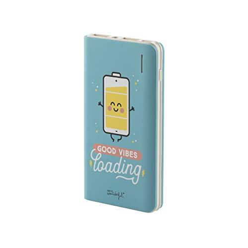 Mr Wonderful Batería Externa 6000 mAh - 2 Puertos de Carga, Cable Micro USB incluido y Diseño Good Vibes
