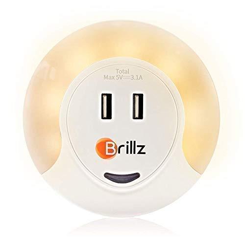 Brillz Nachtlicht für Kinder und Erwachsene mit USB-Ladeanschlüssen, LED-Sensorleuchten, beruhigende Nachtlampe, ideal für natürlichen Schlaf, Augenpflege und energiesparendes Licht, ideal zum Stillen