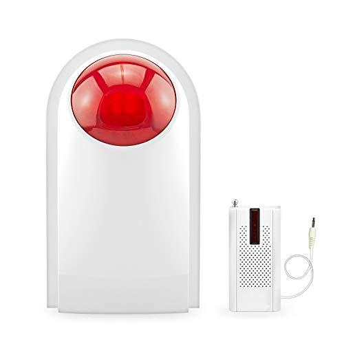 KERUI J008 Sirena de Alarma Inalámbrica con Sistema de Alarma para casa gsm/PSTN, Sirena Estroboscópica Impermeable para Interiores y Exteriores de 110 dB para el Hogar, Garaje y Oficina de Negocios