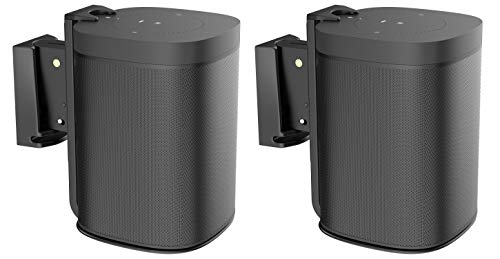 ynVISION Adjustable Wall Mount Bracket for Sonos One, One SL, and Play:1 Speaker | Pair | (Black)