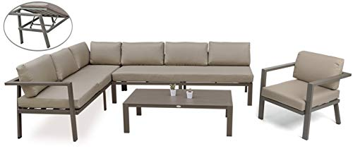 Outdoor Furniture Sectional Sofa Patio Conversation Sets No Assembly 4Pcs Aluminum Couch and Table All Weather Cushioned w/Lounge Function