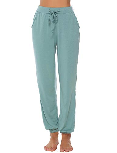 Abollria Damen Schlafanzughose 100% Baumwolle Pyjamahose Nachtwäsche Hose Lang Sporthose Freizeithose Jogging Hose
