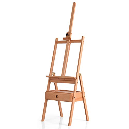 Tangkula H-Frame Artist Easel, 100% Beech Wood Studio Easel w/Drawer, Adjustable Floor Easel Stand for Artists, Students and Adults, Holds Canvas up to 36' for Painting, Drawing, Sketching