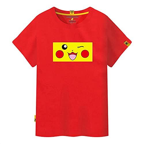 Japonesa Anime Mangas Cortas Camiseta,Camiseta de Pareja de Manga Corta de Picchu Simple-Rojo_3XLARGE