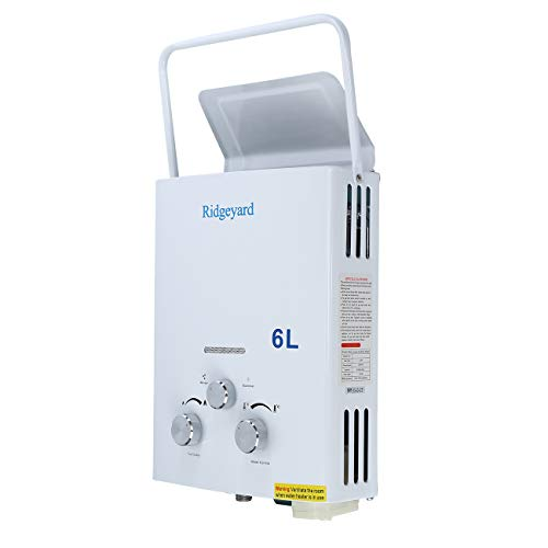 Ridgeyard Fashion 6L Portable Propane Gas Tankless Water Heater with Shower Head 6L for Cabins
