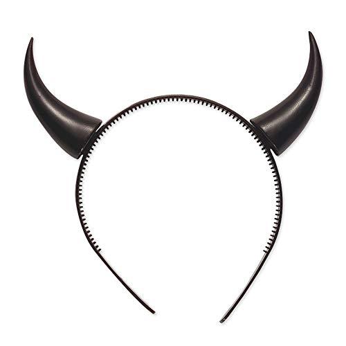 Widmann 5487N – Haarreifen mit Teufelshörner, schwarz, Kopfschmuck, Accessoire, Zubehör, Teufel, Halloween, Motto Party, Karneval