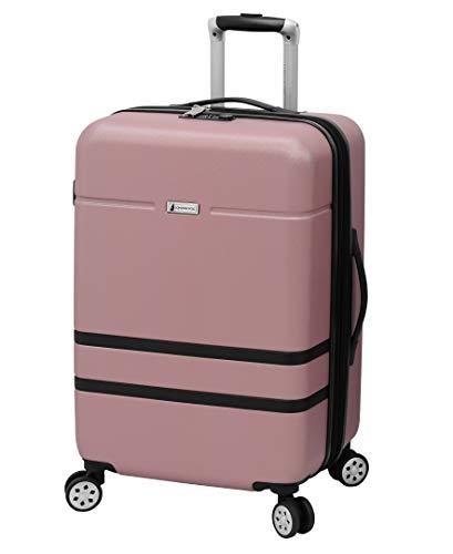 London Fog Southbury II Hardside Spinner Luggage, blush, Checked-Medium 25-Inch