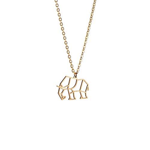 La Menagerie Elefante Oro, Joya de Origami & Collar geométrico Oro Mujer - Collar bañado en Oro 18 Quilates con diseño Animal Elefante - Joyería para niñas y Mujeres