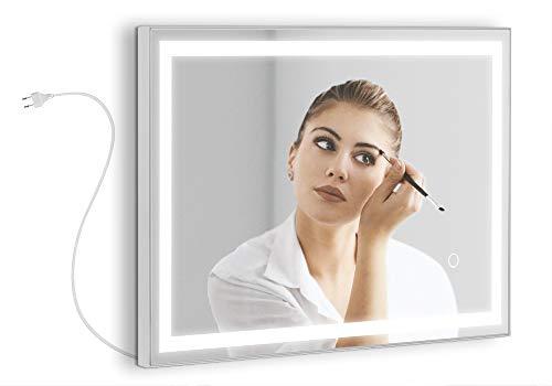Espejo de tocador Modelo Atenas Beauty de 60x40 cm con un Perfil LED Frontal Integrado de 30W Alrededor del Marco. Luz Regulable de 3000K hasta 6000K de eficiencia energética A+.