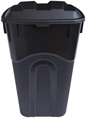 United Solutions 32 Gallon Outdoor Waste Garbage Bin with Attached Lid Heavy Duty Handles Snap product image