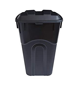 United Solutions 32 Gallon Outdoor Waste Garbage Bin with Attached Lid Heavy-Duty Handles Snap Lock Lid Wheeled Trashcan Black