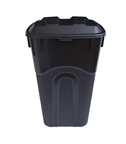 United Solutions 32 Gallon Outdoor Waste Garbage Bin with Attached Lid, Heavy-Duty Handles, Snap Lock Lid, Wheeled Trashcan, Black