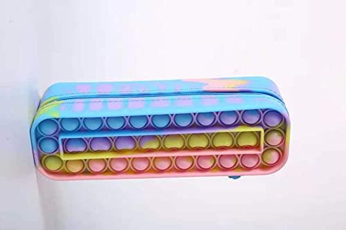 LEEFISH Estuche para Lápices de Burbujas Exprimido, Bolsa de Almacenamiento de Dibujos Animados de Silicona Creativa con Cierre de Cremallera, Chica de Oficina, Niña Adulta, Chico