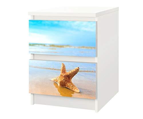 Set Möbelaufkleber für Ikea Kommode MALM 2 Fächer/Schubladen Seestern Strand Kat11 Sand Urlaub Meer Aufkleber Möbelfolie sticker (Ohne Möbel) Folie 25F517