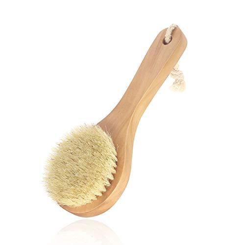 Maltose 豚毛 ボディブラシ 短柄 ボディブラッシング 洗体ボディ 体洗う 柄の長さ約20cm ウッド 天然素材 お風呂 硬め 体洗いブラシ 美肌 お風呂グッズ