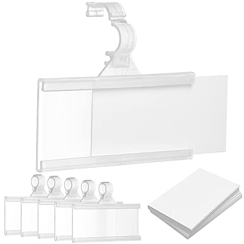 Reusable Plastic Wire Shelf Label Holder, for Pantry Retail Shopping Mall Store, Supermarket UPC Price Card & Ticket Display, Strong & Easy Clip Design Tight Snap Lock Closure. 1-1/4' H X 3' W (25)
