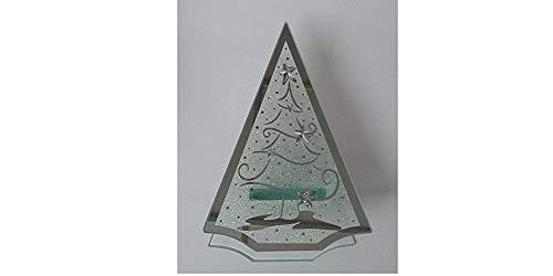 bb-10 Shop Teelichthalter Tanne mit Weihnachtsmotiv aus Glas mit 3D-Effekt schöne Deko für Weihnachten