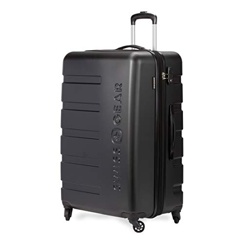 SWISSGEAR 7366 Hardside Expandable Luggage with Spinner Wheels (Medium Checked, Black)