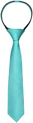 Alizeal Boys Solid Color Pre tied 2 4 Zipper Skinny Necktie Aqua product image