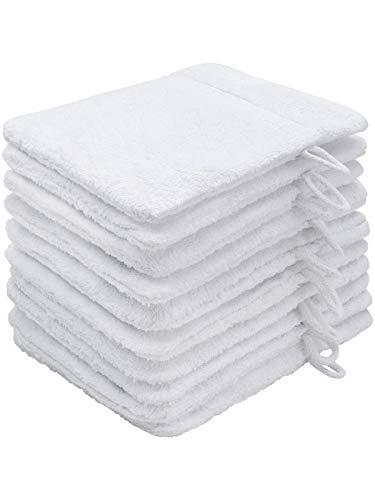 Top Fuel Fashion 10er Pack Waschlappen Elegance 58001 Waschhandschuh 16x21 cm Frottier Baumwolle weiß (weiß)