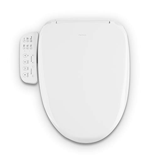FlexiHome Electronic Bidet Toilet Seat with Smart Control Panel, Cleansing Water, Adjustable Spray Pressure And Position, Air Dryer, Soft Closing Lid, Heated Seat, Nightlight, Elongated White