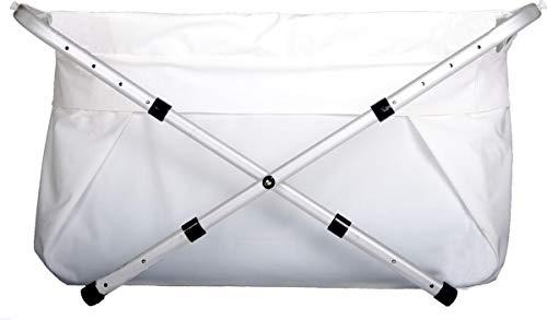 Bibabad - Bañera plegable para bebés - Bañera antideslizante, portátil para ducha - Adecuado para niños de 1 a 8 años - Bañera independiente - Blanco 70-90 cm