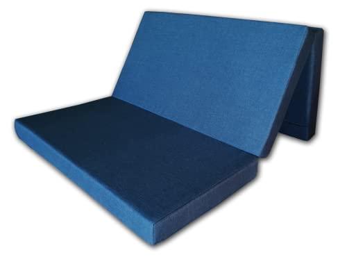 Cabeceroscamas - Colchón Plegable desenfundable en Tela Anti-Manchas con Cierre y asa de Transporte, colchoneta Furgoneta Camper camión Caravana (Azul, 80x190x10) ⭐